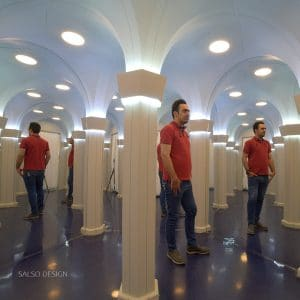 infinity mirror corridor art anamorphic art optical illusion