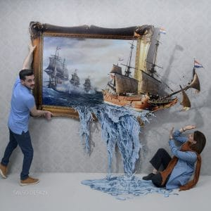 3d ship 3d sticker 3d painting